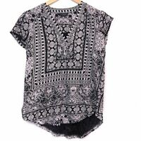 LUCKY BRAND Black Cream Border Print Boho V-Neck Short Sleeve Top XS Extra Small