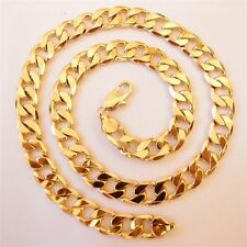 """Men Ladies 9ct 9K YELLOW """"GOLD FILLED"""" Curb Links 24"""" Necklace Chain . W=10mm"""