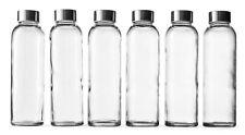 Epica Glass Water Beverage Bottles 6 Pack 18 Oz Metal Cap Liquid Juice BPA Free