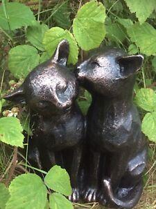 Preening Cat Feline Ornament Statue Home Garden Memorial Frost Proof