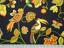 Swavelle/Millcreek Jungle Jam-Madden Thunder 100% Cotton Birds Floral Leaf Vine