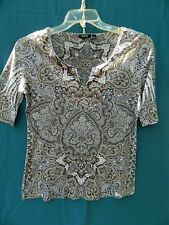 Apt. 9 100% Polyester Brown Paisley Print Short Sleeve Top Size M