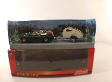 Schuco D 351 5068 Porsche 356 Cabrio mit Wohnwagen grûnn vert neuf boite 1/43