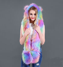 2018 Colorful Faux Fur Animal Ears Hat Gloves Mittens Long Scarf Snood Hood Paws