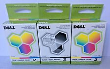 Genuine Dell Color Black 7Y743 Color 7Y745 LOT of 3 Series 2 OEM Ink Cartridges