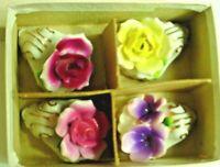 Set Of 4 Vintage Porcelain Place Card Holders-Flowers-Unused In Original Box