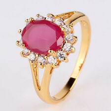 Lady favorable present ! 24k gold filled party ruby wedding ring SzJ-SzR