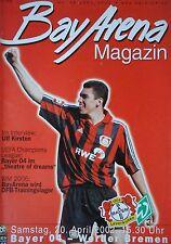 Programm 2001/02 Bayer 04 Leverkusen - Werder Bremen