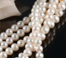 Wholesale 5 Strands 7-8MM White Freshwater Cultured Pearl Loose Beads 15""
