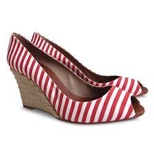 NEW CHRISTIAN LOUBOUTIN Pepi Canvas Peep Toe Espadrille Wedges-White/Red-Size 39