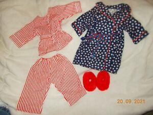 American Girl Molly's Striped Pajamas Robe & Fuzzy Wuzzies Slippers Pleasant Com