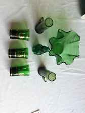 Job Lot Of Green Glass Vases