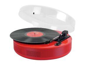 Steepletone Record Player Discgo BT Round 3 Speed  & Bluetooth Streaming Red