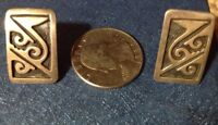 Vtg Mexico 925 Sterling Silver Abstract Design Earrings stamped