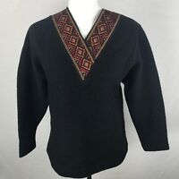 The Territory Ahead Womens Sweater Wool Black V-Neck Small Boho Embroidered