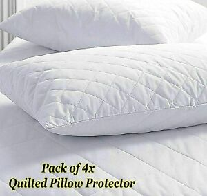 Pack of 4 Zipped Quilted Pillow Protectors Luxury Soft Pillows Pair micro fibre