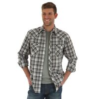 Wrangler Retro Mens Long Sleeve Western Plaid Shirt, MVR361M, Grey