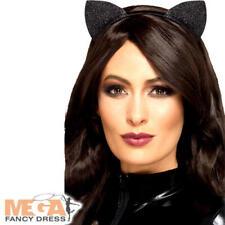 Glitter Cat Ears Ladies Fancy Dress Animal Kitty Adults Womens Costume Accessory