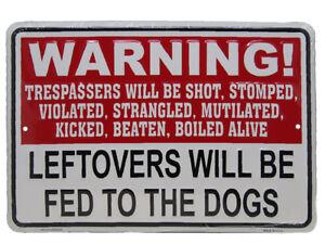 "WARNING! Trespassers Will Be Shot Stomp 8""x12"" Aluminum Metal Plate Parking Sign"