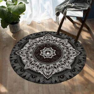 Mandala by Brizbazaar Grey Black Modern Round Rug Carpet Mat Living Room Bedroom