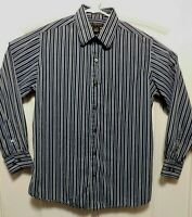 J. Ferrar Blue Striped Mens Long Sleeve Cotton Dress Shirt Sz L 16-16 1/2. A3016