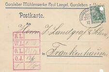 GORSLEBEN, Postkarte 1910, Gorsleber Mühlenwerke Paul Laegel Bahnpoststempel