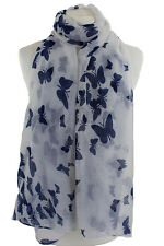 Scarves All Season White Butterfly Print Scarf Shawl Wrap Free Fast Delivery**