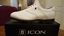Footjoy Icon Black Mens Golf Shoes 52004 NEW White 11.5W MSRP  $349  Mint Cond