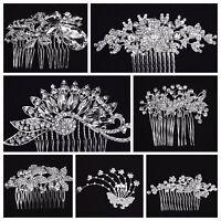 Vintage Inspired Silver Rhinestone Wedding/ Prom Hair Comb/Bridesmaid (USA Sell)