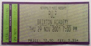 Pulp Original Used Concert Ticket Brixton Academy London 29th Nov 2001