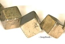 8MM IRON PYRITE GEMSTONE DIAGONAL-DRILL SQUARE CUBE 8X8MM LOOSE BEADS 16""