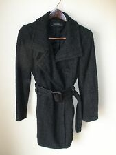 ZARA BASIC Ladies Black Wool Trench Coat Jacket, Size M