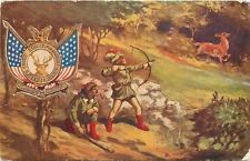 Foresters Of America ShielD~Flags~Hunters Take Aim At Deer~Bow & Arrow~Red Boots