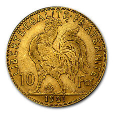 France 10 Francs Gold Rooster Coin - Random Year - Average Circulated