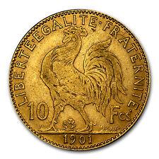 1899-1914 France Gold 10 Francs Rooster Avg Circ - SKU #25990