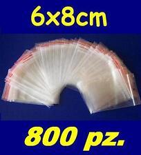 800 pz. BUSTINE ZIP, buste, sacchetti plastica, chiusura a cerniera, 6x8 cm