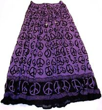 Peace Sign Purple 100% Cotton HIPPIE Boho Crinkle GYPSY India Peasant Skirt
