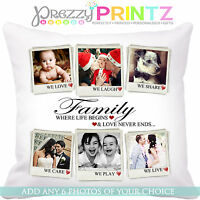 PERSONALISED PHOTO COLLAGE CUSHION CHRISTMAS WEDDING ANNIVERSARY GIFT FAMILY