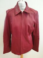 K101 WOMENS M&S RED COLLARED LEATHER FULL ZIP LIGHTWEIGHT JACKET UK L 12