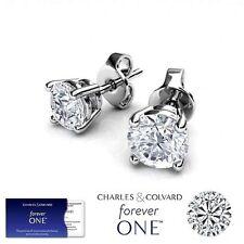 0.75 Carat Moissanite Forever One Stud Earrings in 14K Gold (Charles & Colvard)
