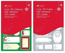 100 Christmas Foild Self Adhesive Gift Labels Xmas Party Present Tie Wrap