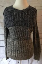 Lucky Brand XS Oversize Sweater Blue Tan Ombre Wool Cotton Blend
