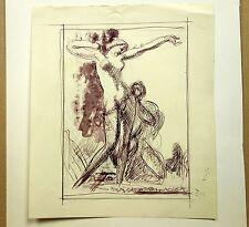 POUGHEON Robert (1886-1955) Dessin Original Etude de Personnages Femme
