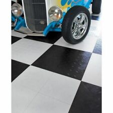 MotoFloor Modular Garage Flooring Black & White 48-pack Durable Tiles