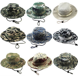 Military Sun Hunting Outdoor Wide Unisex Camo Hat Bucket Boonie Cap Fishing Brim