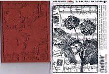 Darkroom Door opaque rubber stamp STAR FLOWERS MUSIC & POSTAGE BACKGROUND 8x12cm