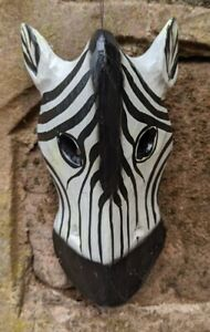 Zebra Mask Small Wooden Wall Hanging Hand Carved