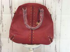MICHAEL KORS Handbag Red Leather Studded Purse Detachable Shoulder Strap NWOT
