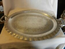 Vintage Everlast Hand Forged Aluminum Serving Tray Grapes and Leaves Design