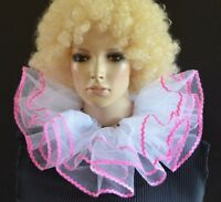 WHITE & PINK 2-layered net BURLESQUE CLOWN COLLAR neck ruff/ruffle - dance/drama